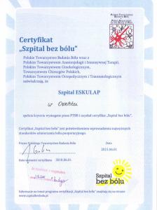 szpital bez bólu - certyfikat